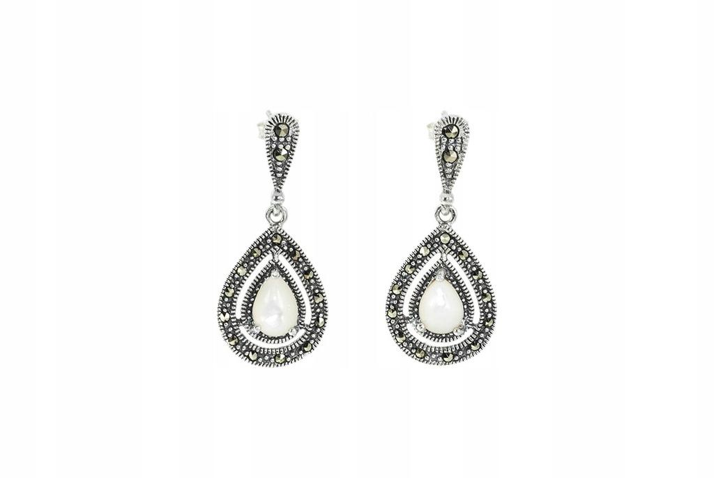 881b61c61cc53b Srebrne kolczyki z markazytami i masą perłową - Sklep z biżuterią ...
