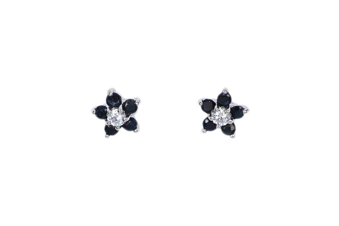 87801dc47b164e Srebrne kolczyki z szafirem i cyrkonią - Monarti Srebrna Biżuteria